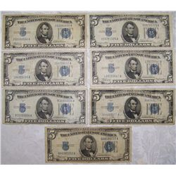 (7X$) $5 SILVER CERTIFICATE NOTES SERIES 1935