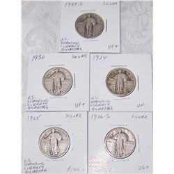 (5X$) SILVER U.S. STANDING LIBERTY QUARTERS VG to VF+ CONDITION 1924-1930
