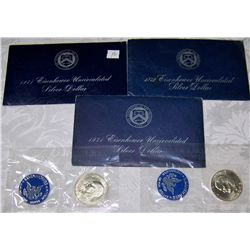 (5X$) UNCIRCULATED U.S MINT EISENHOWER SILVER DOLLARS 1971-73