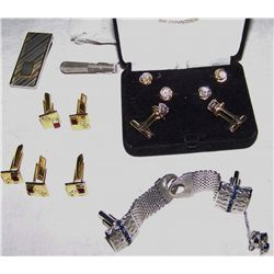 Five Piece Gentleman's Jewelry Including (3) Cuff Link Sets, Tie Tack, & Money Clip