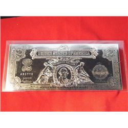 National Collectors Mint - $2 Silver Certificate Note - Perimeter 21 in.- Content - U.S. Legal Tende