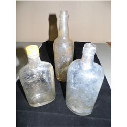 Antique Glass Bottles - Old Grand Dad, Wine Bottle w/grapes and Gordons Gin