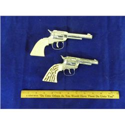 Antique Western Cap Pistols w/ Ivory Style Handles - 1950's ( 8 in. & 7 in. )