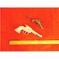 Antique Western Cap Pistol - 6.5 in.plus 4 in. keychain w/ moveable parts