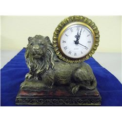 Lion Resin Mantle Clock - 7.5 tall x 7.75 long x 3.75 wide