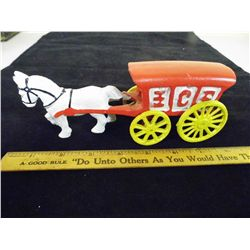 Cast Iron Horse Drawn Ice Wagon w/ moving wheels - 7.5 long x 2.75 in. tall