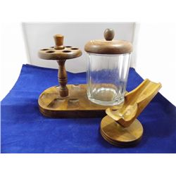 Tobacconalia - Vintage Walnut Dun - Rite 9 in. Smoking Pipe Holder & Brass Spittoon 5 in. tall