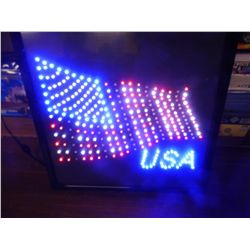 NEW - USA Flag LED Electric Light     19 in. x 19 in.