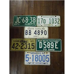 License Plates - 71 Miss., 73Ohio,  60 South Dakota,  62 Arkansas,  67 South Carolina, 71 Alberta Ca