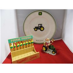 John Deere Lot - Set of Corn Skeewers, Plate and Christmas Ornaments