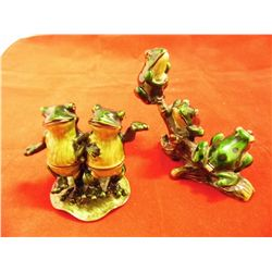 2 - Metal  Jeweled Ornate Frog Pill Boxes ( 2.5 to 3 in. tall)