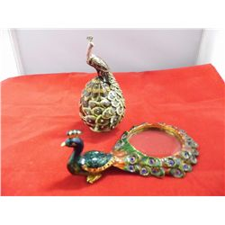 2- Metal Jewled Ornate Peacock - 1 pill box ( 4.25 in. tall) & 1 magnifying glass (5.5 in.long)