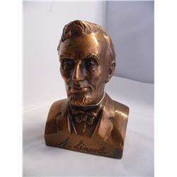Copper Coin Bank - Abe Lincoln - Banthrico Inc. - Chicago USA - Bloomington S&L - 5.25 in. tall x 3.