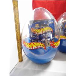 2 Packages - Hot Wheels Eggclusives - NEW in plastic Egg - 3 cars and a Motorcycle per egg