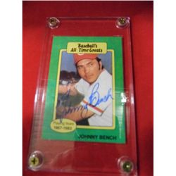Autographed Johnny Bench - Playing Years 1967 -83 - Baseball All Time Great Card