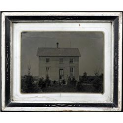 Large Tintype Photograph Pioneer Family House, Framed