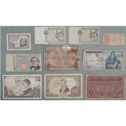 1 LOT of (10) Mixed Old European Paper Currency
