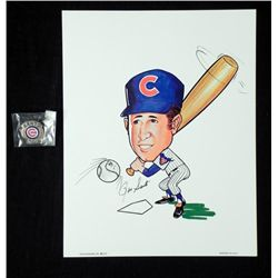 Ron Santo Hall of Fame Signed Caricature and Pin Cubs