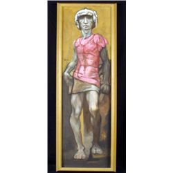 Classical Roman Athlete Figure Original Painting Framed