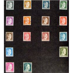 16 Diff German WWII Stamps Hitler, Deutsche Post