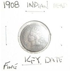 1908 INDIAN HEAD PENNY *RARE KEY DATE NICE PENNY FINE GRADE*!!