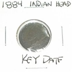 1884 INDIAN HEAD PENNY *RARE KEY DATE NICE PENNY PLEASE LOOK AT PICTURE TO DETERMINE GRADE*!!