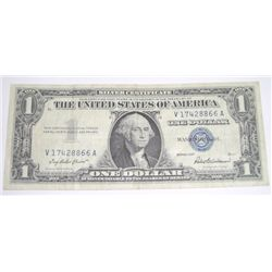 1957 SILVER CERTIFICATE $1 SERIAL # V17428866A *NICE BILL PLEASE LOOK AT PICTURE TO DETERMINE GRADE*