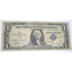 1935 SERIES C SILVER CERTIFICATE $1 SERIAL # Y80406541D *PLEASE LOOK AT PIC TO DETERMINE GRADE*!