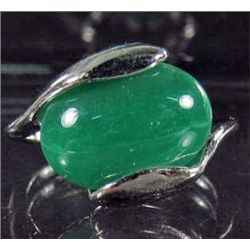 2617 - SILVER TONE RING W/HORIZONTAL JADE COLOR STONE - SZ  7.5