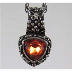 4187 - ANTIQUED SILVER PENDANT W/CHAIN AND ORANGE-RED CRYSTAL STONE