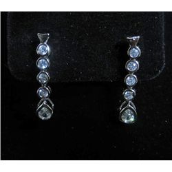 5243 - WHITE GOLD PLATE DROP EARRINGS W/ WHITE TOPAZ - 17.4 CTW