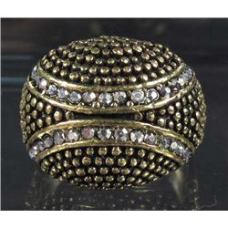 4900 - ANTIQUED BRONZE COLOR RING W/ CZ'S - SZ 9.25