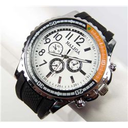 "7072 - MEN'S SILVER TONE QUARTZ WATCH W/ BLACK SILICONE BAND -  FACE 1.75"" DIA."