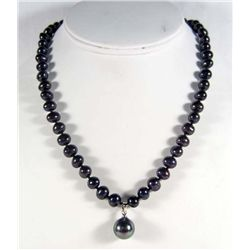 8495 - TAHITIAN BLACK PEARL NECKLACE AND PENDANT
