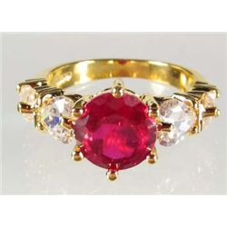 8615 - GOLD PLATED RUBY AND TOPAZ RING - SIZE 6