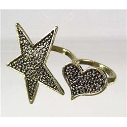 8637 - STAR & HEART DOUBLE FINGER RING