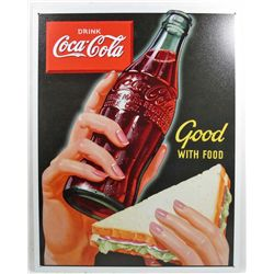 "8686 - COCA COLA GOOD WITH FOOD METAL SIGN APPROX. 12 ""1/2 x 16"