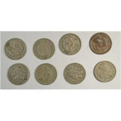 Nice run of 3 cent nickels avg VG to fine:1865-66-67-68-69-70-71-73  8 coins