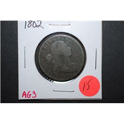 1802 US Drapped Bust One Cent; AG3; EST. $35-60