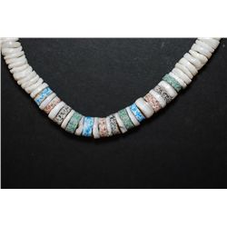 Puka Shell Necklace With Colored Accent Shells; EST. $5-10
