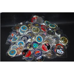 Military Challenge Coin; Various Dates, Bases, People, Etc.; Lot of 100; EST. $400-600
