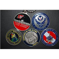 US Military Challenge Coin; Various Dates, Bases, People, Etc.; Lot of 5; EST. $20-40