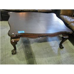 ball and claw foot mahogany coffee table. Black Bedroom Furniture Sets. Home Design Ideas