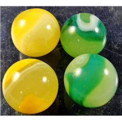 "Marbles - Akro Agate Company: Lemonade & Limeade, lot of 4, 19/32"" 9.9"