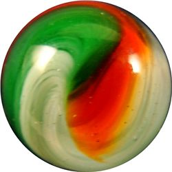 "Marbles - Akro Agate Company: Popeye Corkscrew, green and red, 21/32"" 9.9"