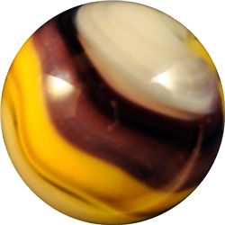 "Marbles - Akro Agate Company: Popeye Corkscrew, purple and yellow, 21/32"" 9.0"