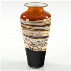 Dark Orange Strata Small Traditional Urn