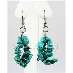 50.27CTW 2in. BLUE TURQUOISE CHIPPED STONE HOOK EARRING