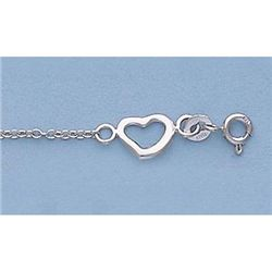 "Pure Gold 7"" 14k Gold-White Oval Link Floating Heart"