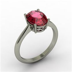 Garnet 2.10 ctw Ring 14kt White Gold